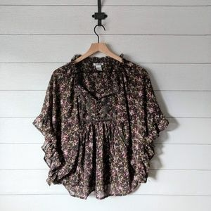 Pinky Floral Semi-Sheer Batwing Poncho Blouse S